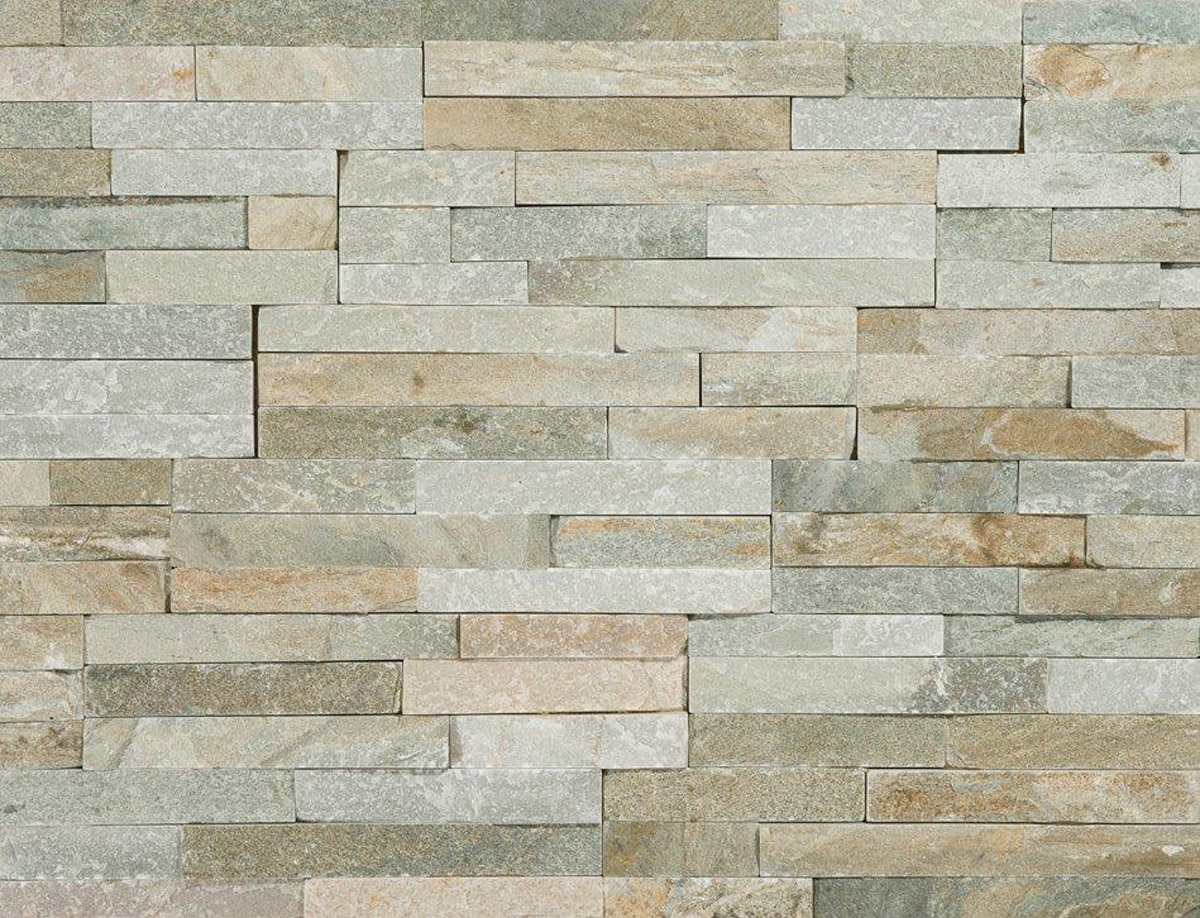 Stunning variagated split face quartzite 3d mosaic tiles for Split wall