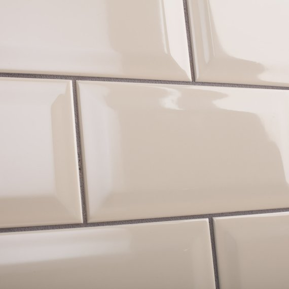 Metro cream brick shaped wall tile with a gloss finish