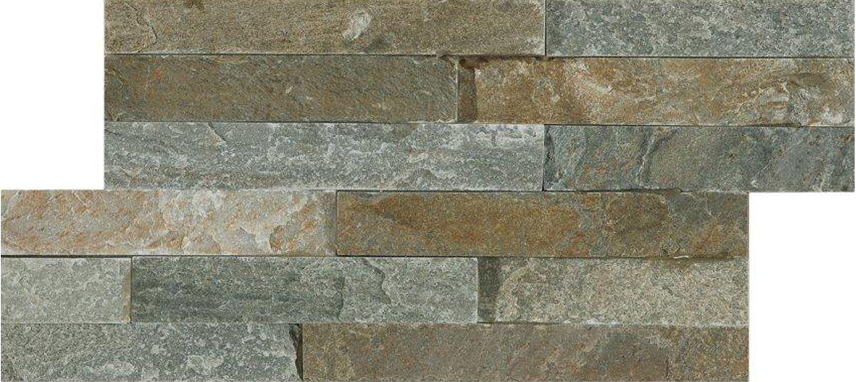 Stunning variagated split face Quartzite 3D mosaic tiles.