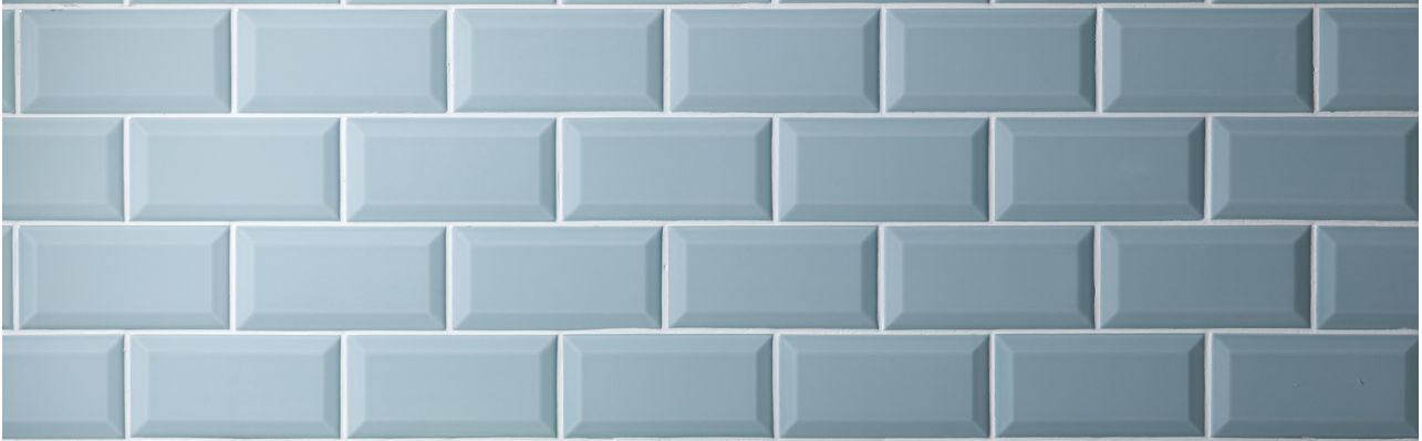 Duck Egg Mini Metro brick shaped glazed ceramic wall tiles, with a ...