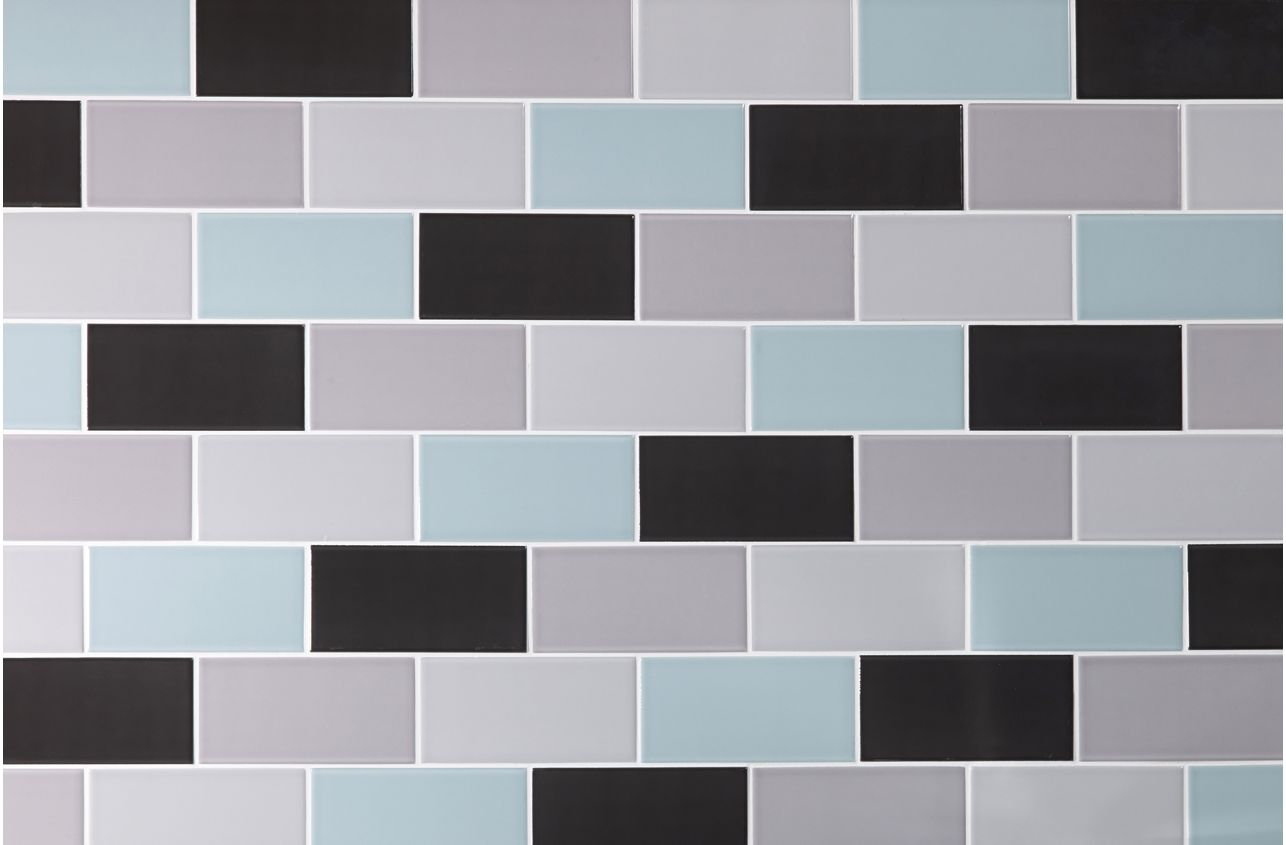 Slate Grey Mini Brick Glazed Ceramic Wall Tile With A High